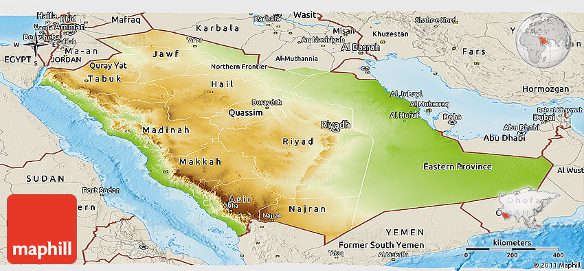 Physical Panoramic Map of Saudi Arabia shaded relief outside