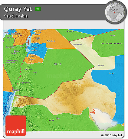 Physical 3D Map of Quray Yat, political outside
