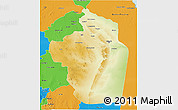 Physical 3D Map of Riyad, political outside