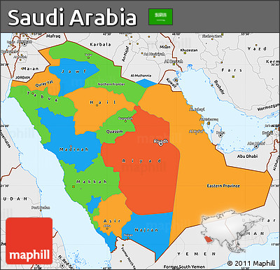 political simple map of saudi arabia single color outside borders and labels