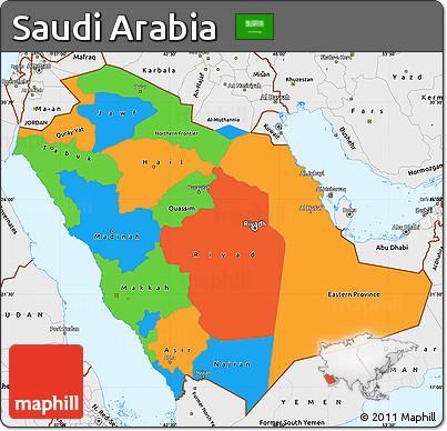 Political Map Saudi Arabia Cvln Rp