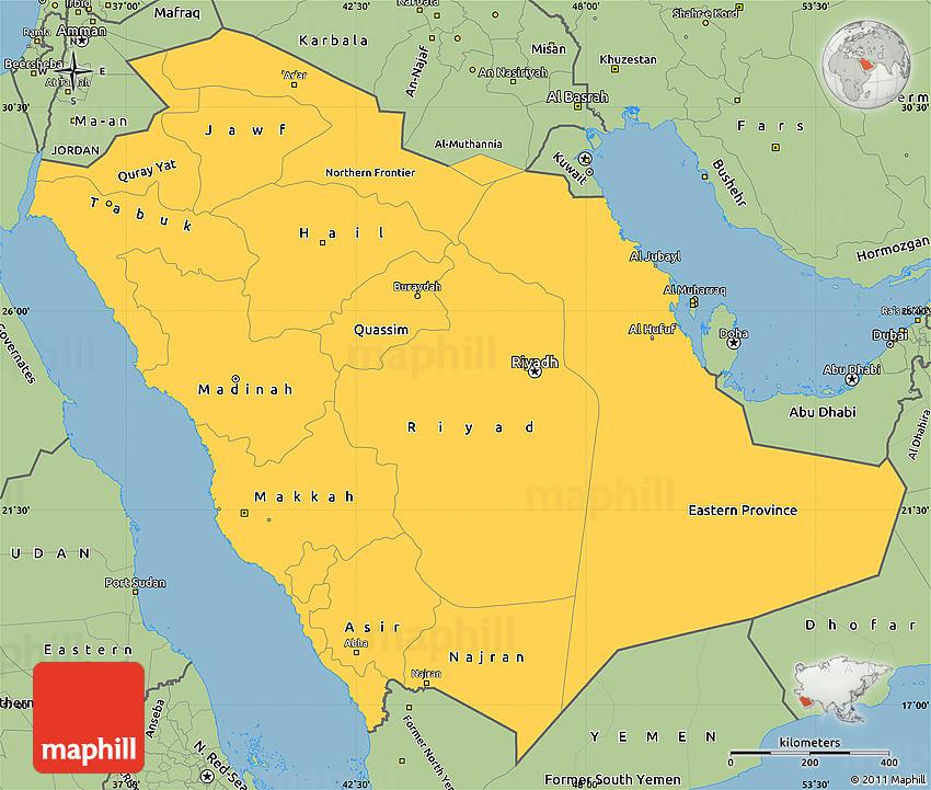 Savanna Style Simple Map of Saudi Arabia