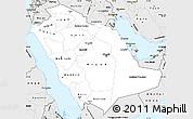 Silver Style Simple Map of Saudi Arabia