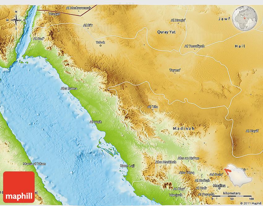 Physical 3D Map of Tabuk