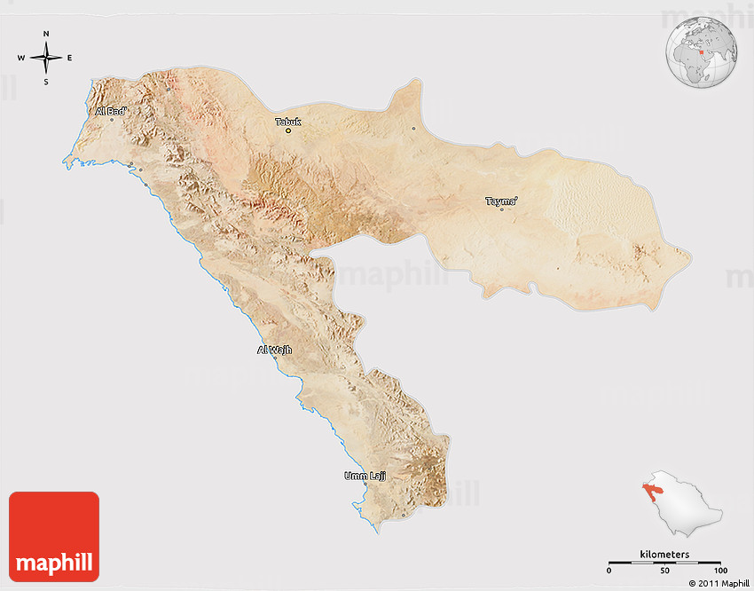 Satellite 3D Map of Tabuk cropped outside