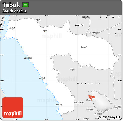 Free Silver Style Simple Map of Tabuk