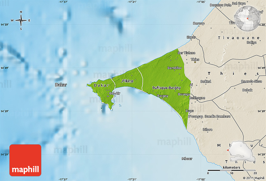 Physical Map of Dakar shaded relief outside