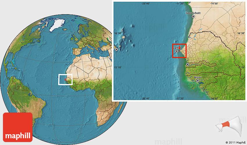 Satellite Location Map Of Pikine - Pikine map