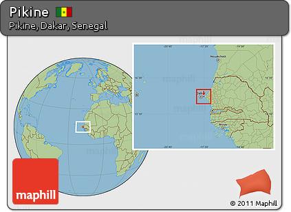 Free Savanna Style Location Map Of Pikine Highlighted Parent Region - Pikine map