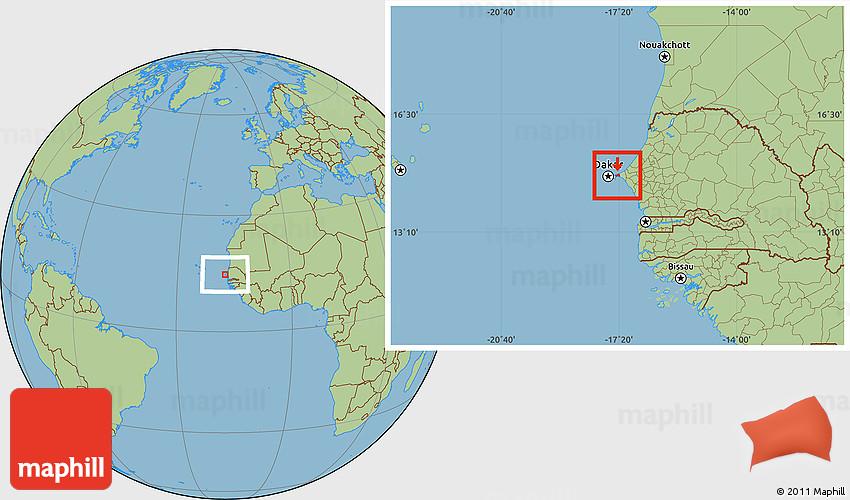 Savanna Style Location Map Of Pikine - Pikine map