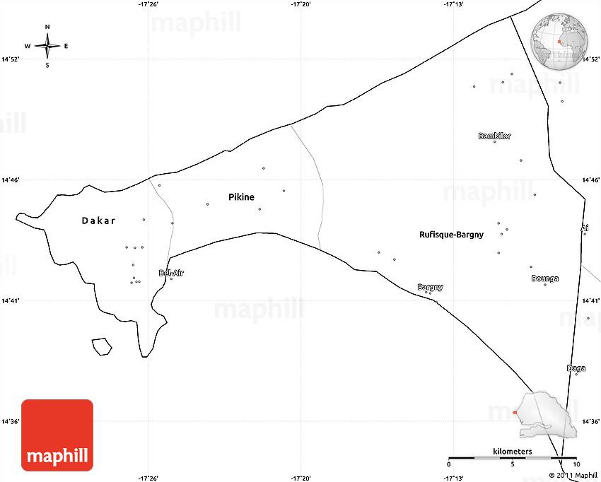 Blank Simple Map of Dakar