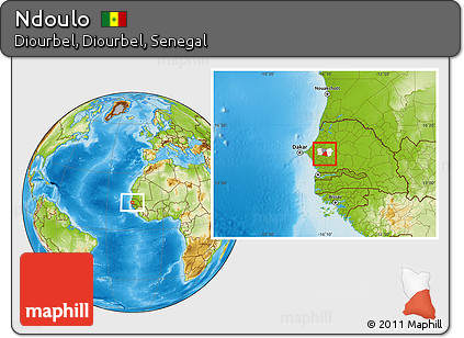 Free Physical Location Map of Ndoulo highlighted parent region