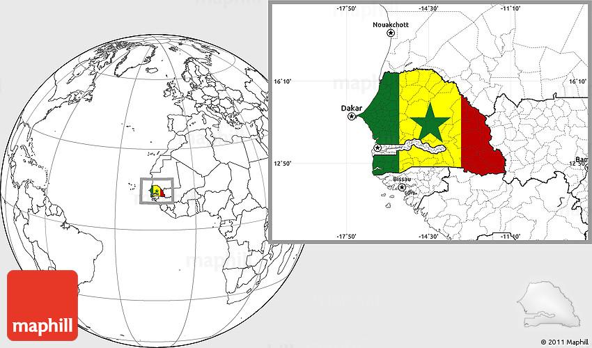 Flag Location Map of Senegal blank outside