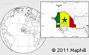 Flag Location Map of Senegal, blank outside