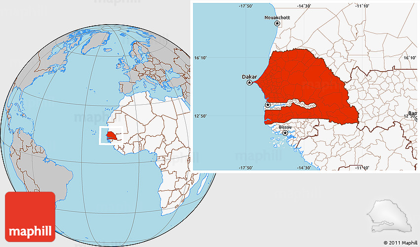 Gray Location Map Of Senegal Highlighted Continent