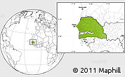 Physical Location Map of Senegal, blank outside