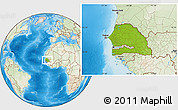 Physical Location Map of Senegal, lighten, land only