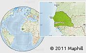 Physical Location Map of Senegal, lighten