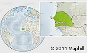 Physical Location Map of Senegal, lighten, semi-desaturated