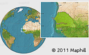 Physical Location Map of Senegal, satellite outside