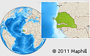 Physical Location Map of Senegal, shaded relief outside
