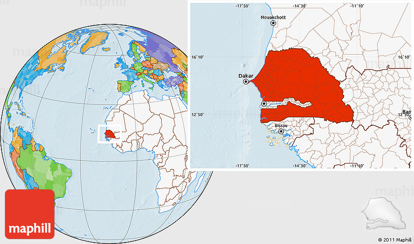 Political Location Map of Senegal highlighted continent