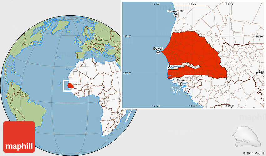 Savanna Style Location Map of Senegal highlighted continent