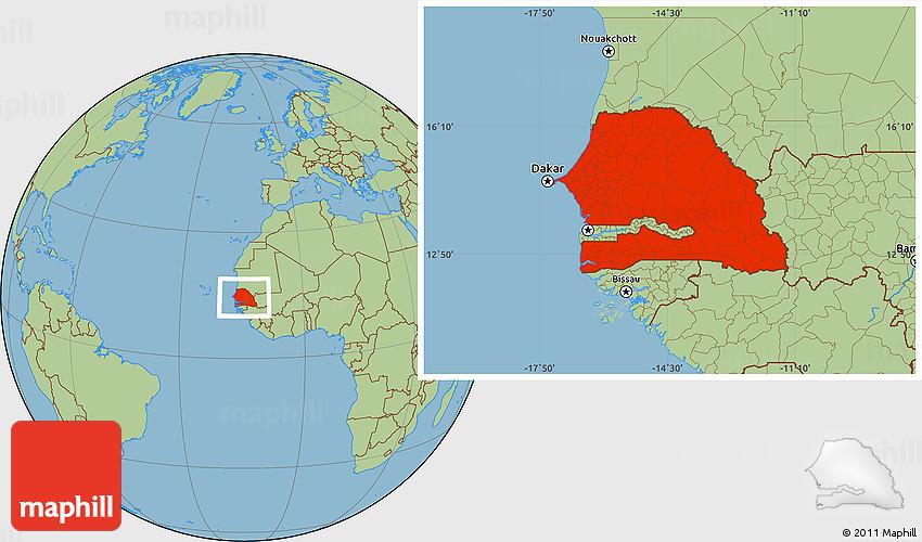 Savanna Style Location Map of Senegal