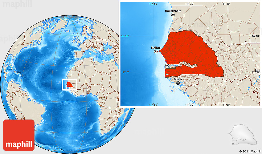 Shaded Relief Location Map of Senegal