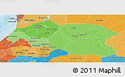 Political Shades Panoramic Map of Louga