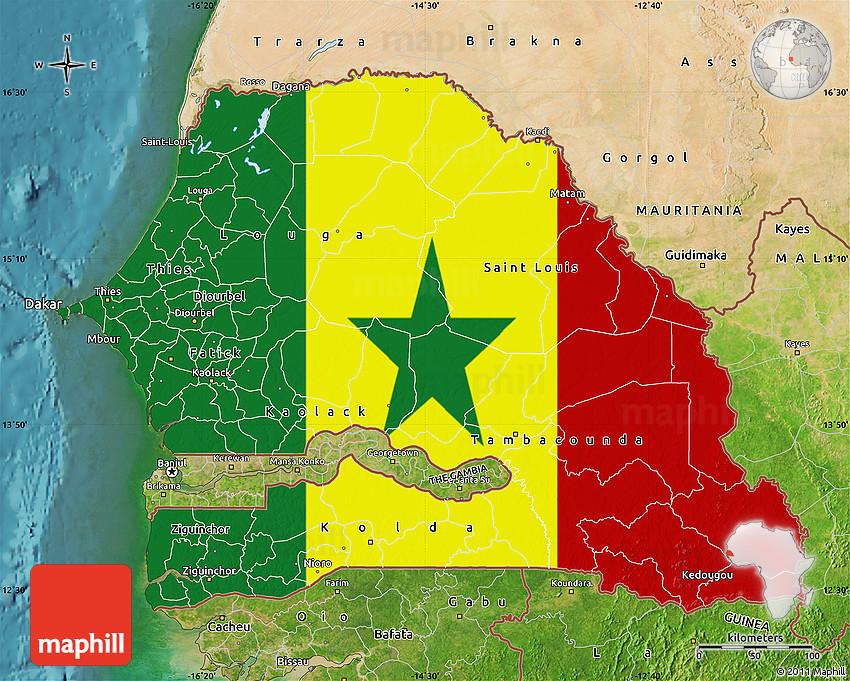 Flag Map of Senegal satellite outside