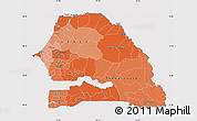 Political Shades Map of Senegal, cropped outside