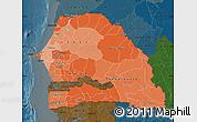 Political Shades Map of Senegal, darken
