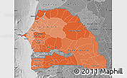 Political Shades Map of Senegal, desaturated