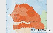Political Shades Map of Senegal, lighten