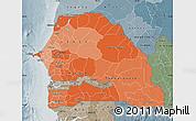 Political Shades Map of Senegal, semi-desaturated