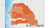 Political Shades Map of Senegal, single color outside