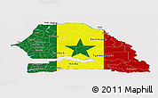 Flag Panoramic Map of Senegal