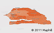 Political Shades Panoramic Map of Senegal, cropped outside