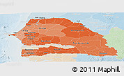 Political Shades Panoramic Map of Senegal, lighten