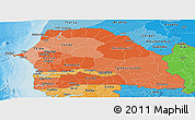 Political Shades Panoramic Map of Senegal