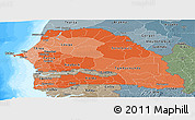 Political Shades Panoramic Map of Senegal, semi-desaturated, land only