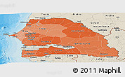 Political Shades Panoramic Map of Senegal, shaded relief outside, bathymetry sea