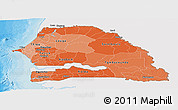 Political Shades Panoramic Map of Senegal, single color outside