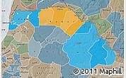 Political Map of Saint Louis, semi-desaturated