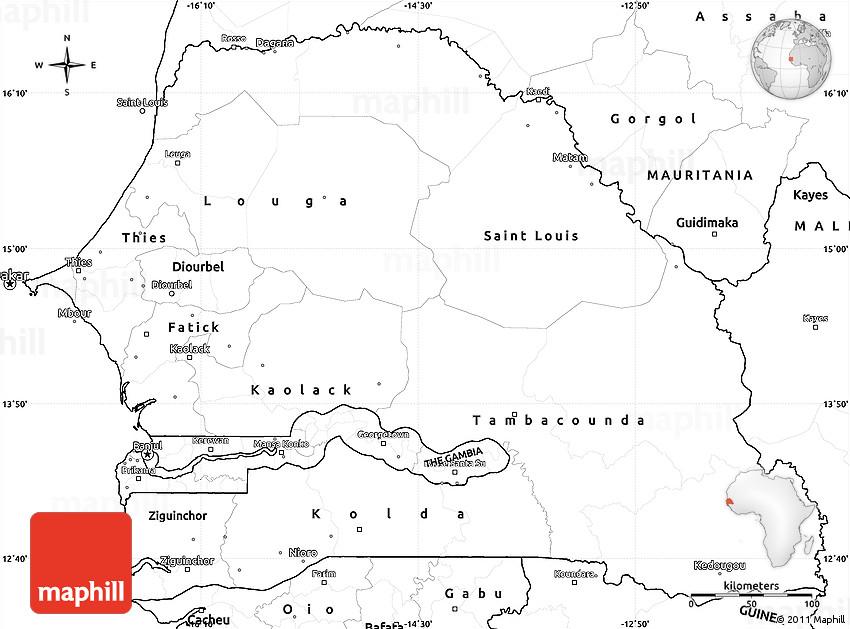 Blank Simple Map Of Senegal - Senegal map vector