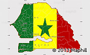 Flag Simple Map of Senegal