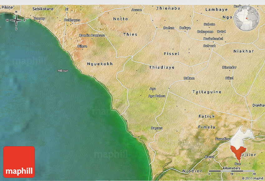 Satellite 3D Map of Mbour
