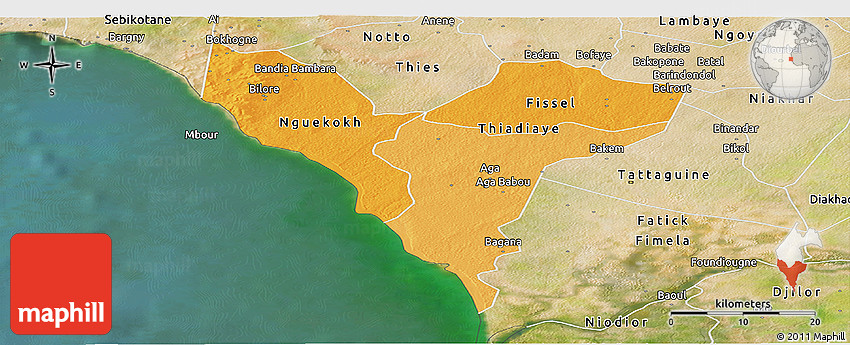 Political Shades Panoramic Map of Mbour, satellite outside