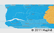 Political Shades Panoramic Map of Ziguinchor
